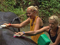 Twins Liz & Marie must contend with an elephant washing speedbump in Thailand.
