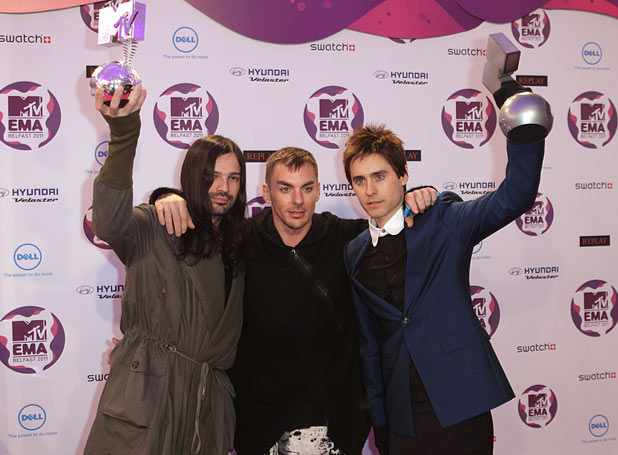EMAs 2011: Tomo Milicevic, Shannon Leto and Jared Leto of 30 Seconds to Mars