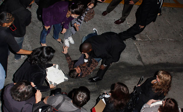 Robert Pattinson fan is tackled at Jimmy Kimmel Live