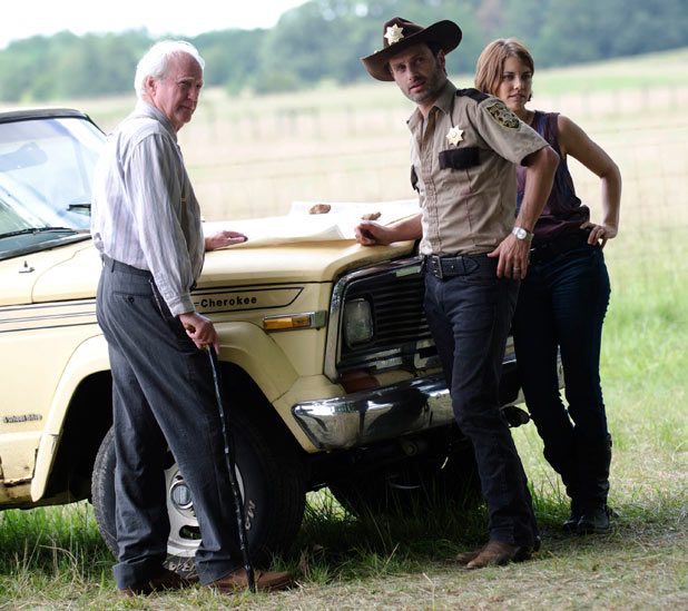Hershel Greene (Scott Wilson), Rick Grimes (Andrew Lincoln) and Maggie Greene (Lauren Cohan)