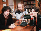 Dylan Moran, Bill Bailey and Tamzin Greig in 'Black Books