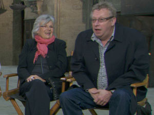 Mark Williams and Julie Walters on set for Harry Potter