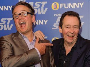 Paul Whitehouse and Charlie Higson share a joke