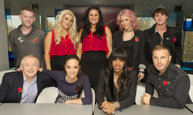 X Factor judges and Jonjo Kerr, 2 Shoes, Amelia Lily and James Michael