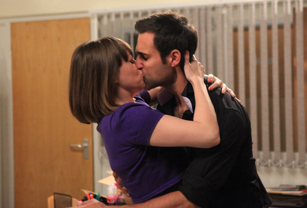 Gennie Walker (Sian Reese-Williams) and Nikhil Sharma (Rik Makarem) kiss