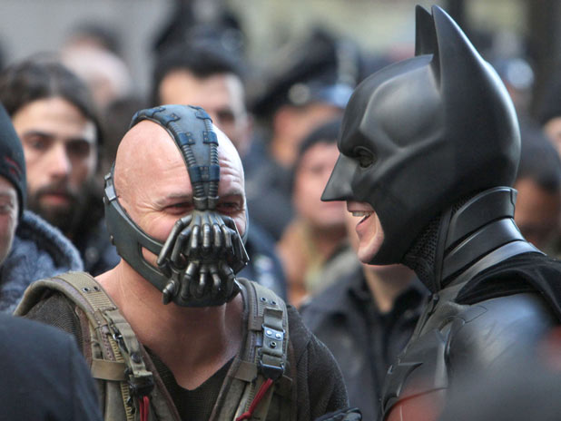 Tom Hardy and Christian Bale on set