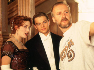 Titanic 3D re-release: Director James Cameron directs his stars on the ballroom set.