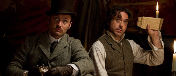 Jude Law and Robert Downey Jr in 'Sherlock Holmes: A Game Of Shadows'