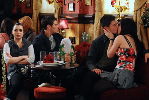 Lauren Branning (Jacqueline Jossa) kisses Tyler Moon (Tony Discipline)