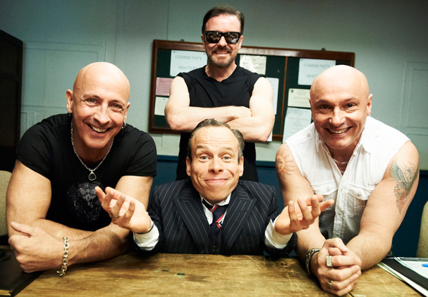 Right Said Fred, Warwick Davis and Ricky Gervais