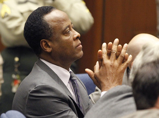 Dr. Conrad Murray in court as he is sentenced to four years in jail