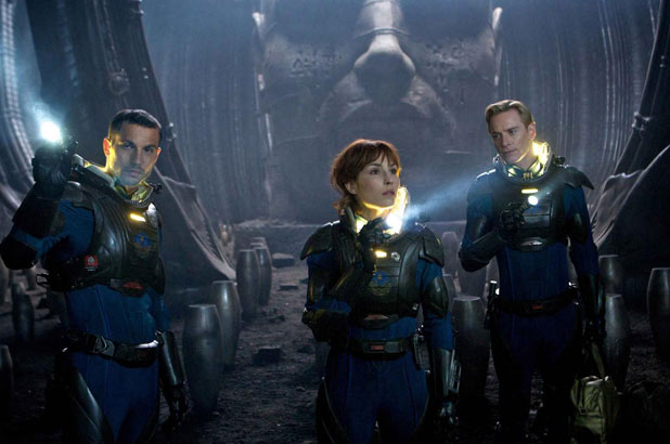 Logan Marshall-Green, Noomi Rapace and Michael Fassbender explore a distant planet.