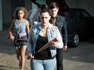 Misfits, Alisha (Antonia Thomas), Kelly (Lauren Socha) and Simon (Iwan Rheon)