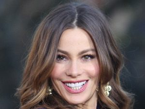 Sofia Vergara films an appearance on the entertainment news show 'Extra' at The Grove Los Angeles
