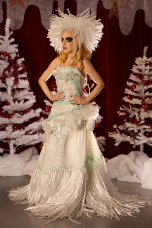 Lady Gaga model in a cling film dress at Madame Tussauds Blackpool