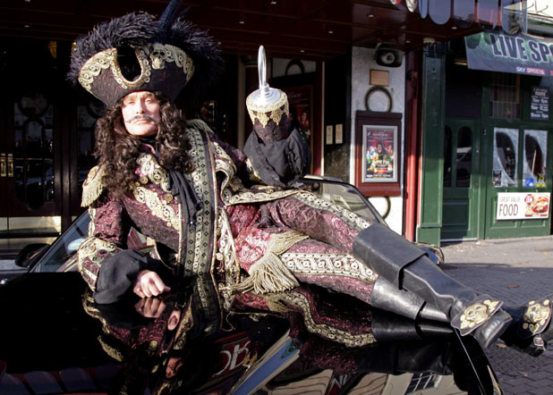 David Hasselhoff as Captain Hook during a &#39;Peter Pan&#39; pantomime photocall, Bristol Hippodrome