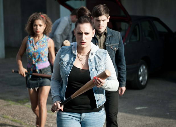 Alisha (Antonia Thomas), Kelly (Lauren Socha) and Simon (Iwan Rheon)