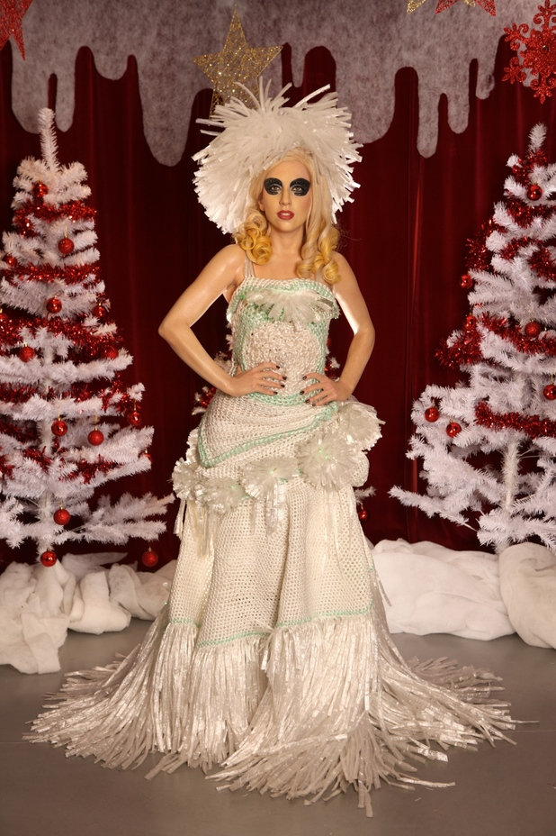 Lady Gaga waxwork in a cling film dress at Madame Tussauds Blackpool