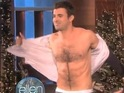 The X Factor host strips during his Ellen appearance to promote his show.