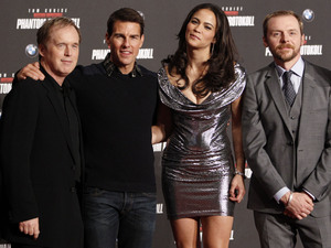 Brad Bird, Tom Cruise, actress Paula Petton and actor Simon Pegg, European Premiere of Mission Impossible - Ghost Protocoll Austria