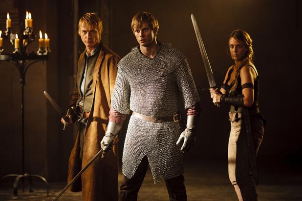 Tristan (Ben Daniels), Arthur (Bradley James) , Isolde (Miranda Raison)