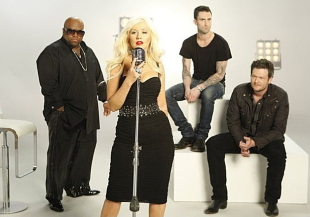 The Voice US judges. Christina Aguilera, Cee Lo Green, Blake Shelton and Adam Levine NBC