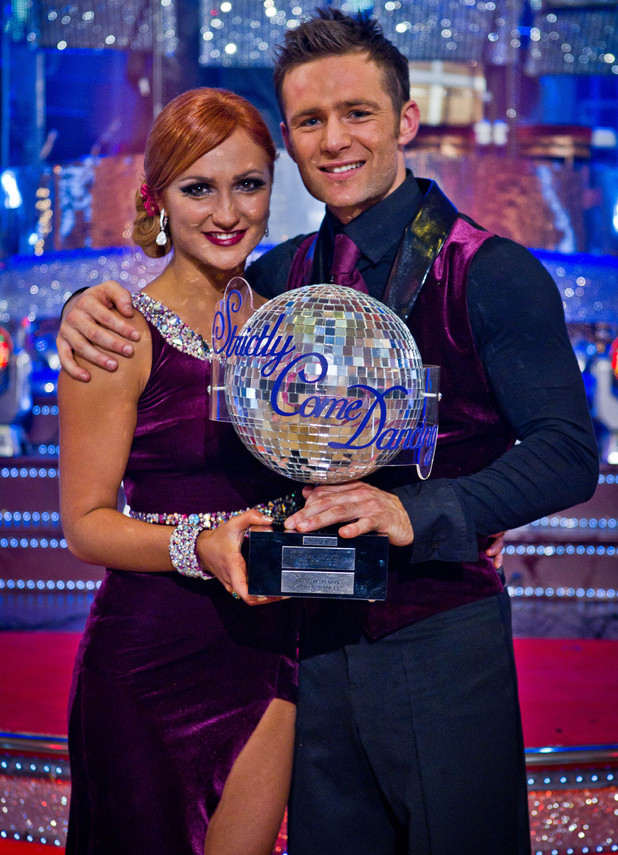 Harry and Aliona with the famous Glitterball trophy