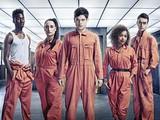 Misfits Channel 4 Rudy (Joseph Gilgun), Alisha (Antonia Thomas), Simon (Iwan Rheon) and Curtis (Nathan Stewart Jarrett)