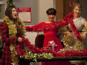 Take a look at a behind-the-scenes photo from the Christmas episode of Glee.