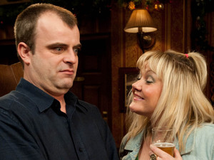 Beth flirts with a terrified Steve in the pub