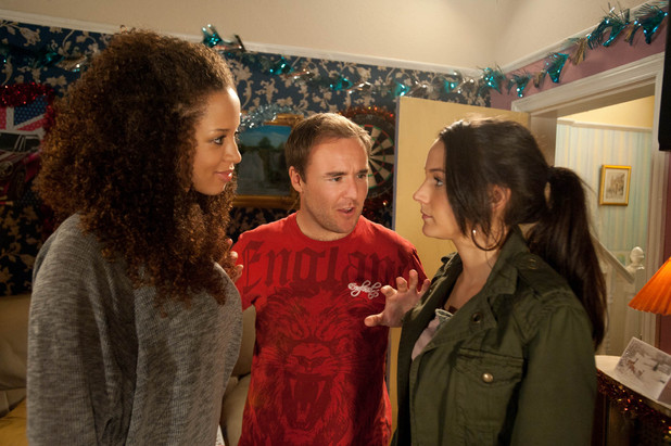 As Tina shouts at Kirsty she sounds irrational, and Tyrone sides with Kirsty over the matter