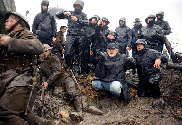 Steven Spielberg oversees a sequence shot in the trenches