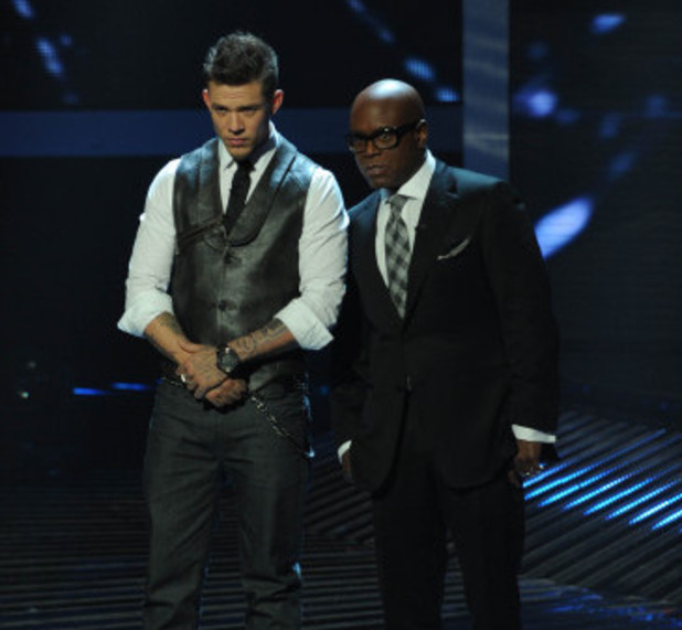 Chris Rene and L.A. Reid onstage on The X Factor