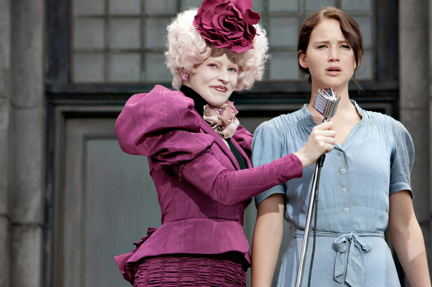 Jennifer Lawrence as Katniss, Elizabeth Banks as Effie in 'The Hunger Games'