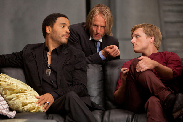 Cinna (Lenny Kravitz), Haymitch (Woody Harrelson) and Peeta Mellark (Josh Hutcherson).