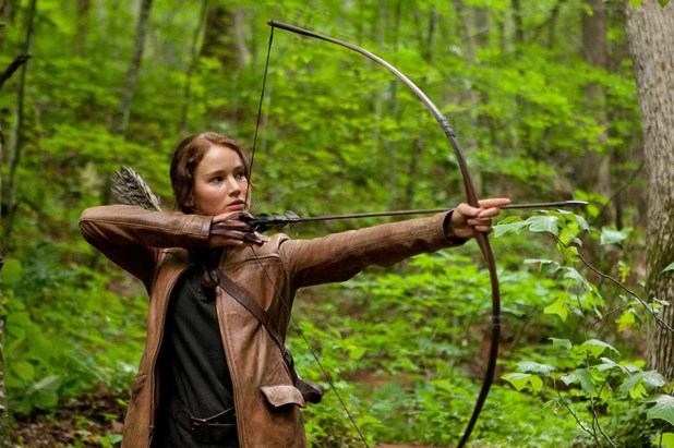 Jennifer Lawrence with a longbow