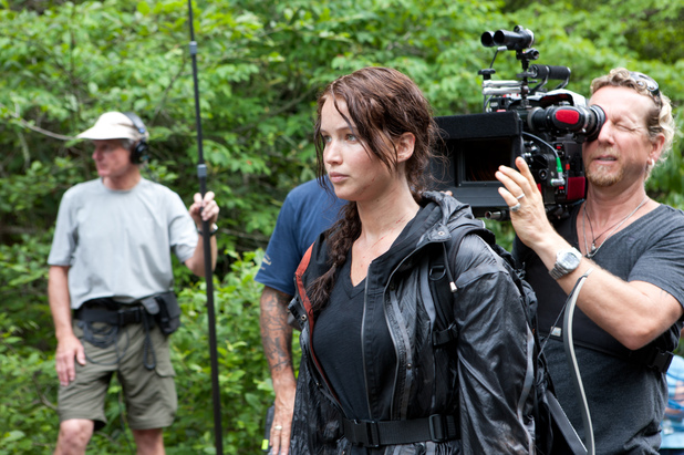 Jennifer Lawrence on set