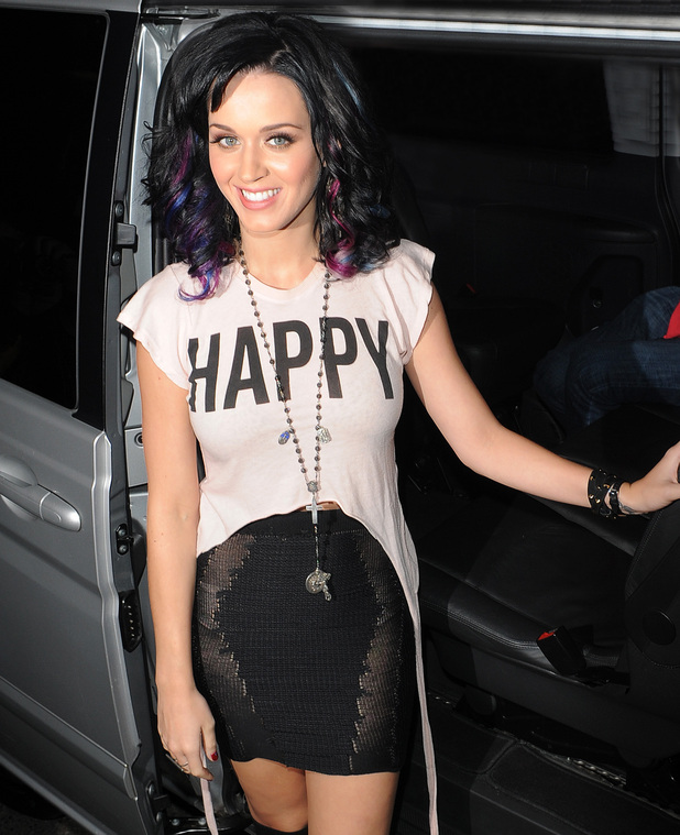 Katy Perry with claret and blue highlights in her hair, to show her support for Russell's favourite football team, West Ham United.
