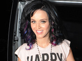 Katy Perry with claret and blue highlights in her hair, to show her support for Russell&#39;s favourite football team, West Ham United.
