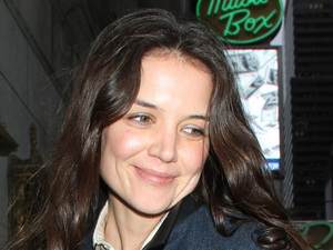 Katie Holmes at the Music Box Theatre, New York after performing in Dead Accounts on Broadway