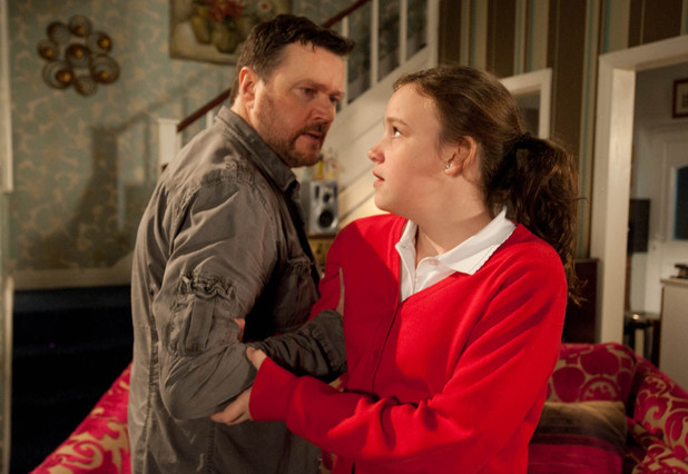 Owen Armstrong (Ian Puleston-Davies) tries to discipline Faye Butler (Ellie Leach)