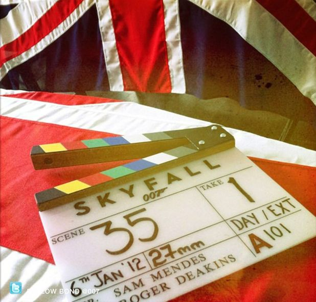 Clapperboard for Bond Movie 'SkyFall'