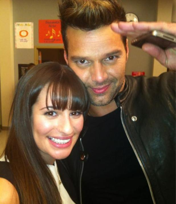 Ricky Martin on the Glee set with Lea Michelle (from Twitter)