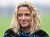 Sarah Harding walking her dog in London London