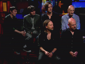 Radiohead performs on three songs off their new album 'The King of Limbs' on 'Comedy Central's 'Colbert Report.'  Thom Yorke and Ed O'Brien also talk with Colbert about global warming