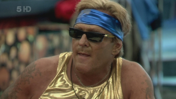 Celebrity Big Brother 9 - Day 3 Michael Madsen goes head-to-head with Natalie Cassidy to see who can eat the most raw eggs during the 'Body Building Task