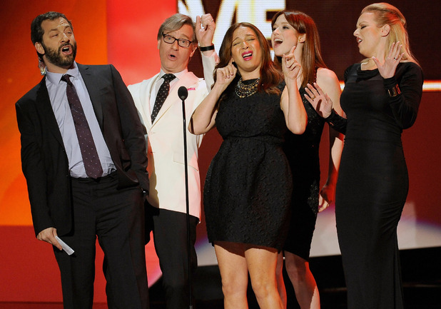 The cast of Bridesmaids have a little sing-song to celebrate their award for 'Favourite Comedy Movie', People's Choice Awards
