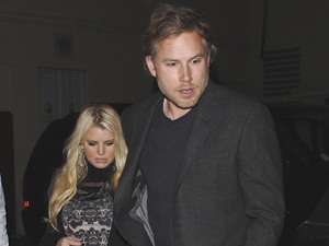 Pregnant Jessica Simpson and Eric Johnson leaving Mastro's restaurant Los Angeles