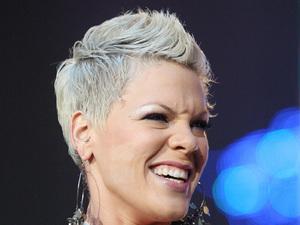 Pink, grey hair