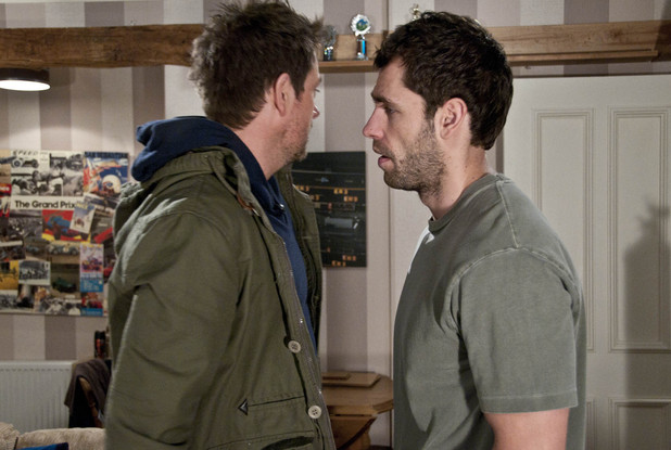 Cameron Murray (Dominic Power) warns off Andy Sugden (Kelvin Fletcher)